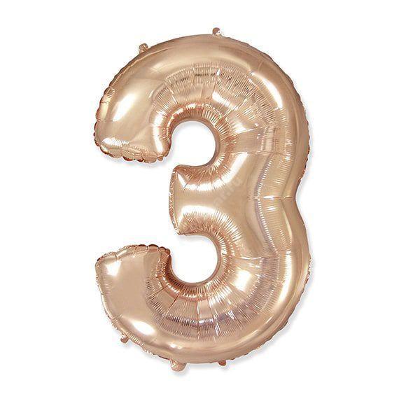 Фольгированная цифра розовое золото «три»