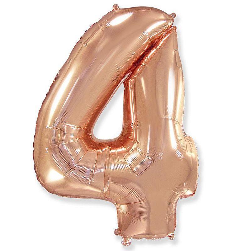 Фольгированная цифра розовое золото «четыре»