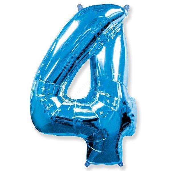 Фольгированная цифра голубая «четыре»
