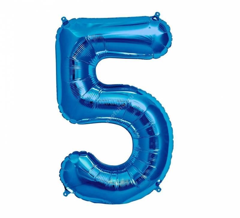 Фольгированная цифра голубая «пять»