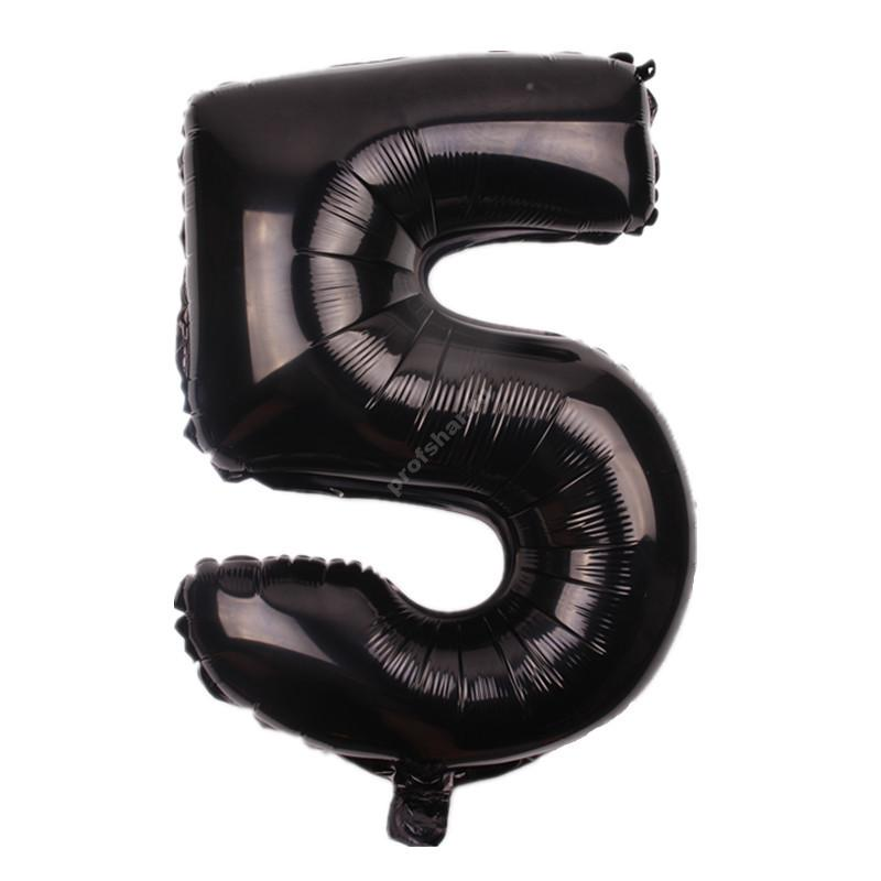 Фольгированная цифра черная «пять»
