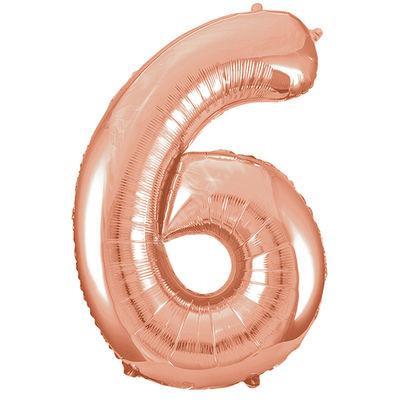 Фольгированная цифра розовое золото «шесть»