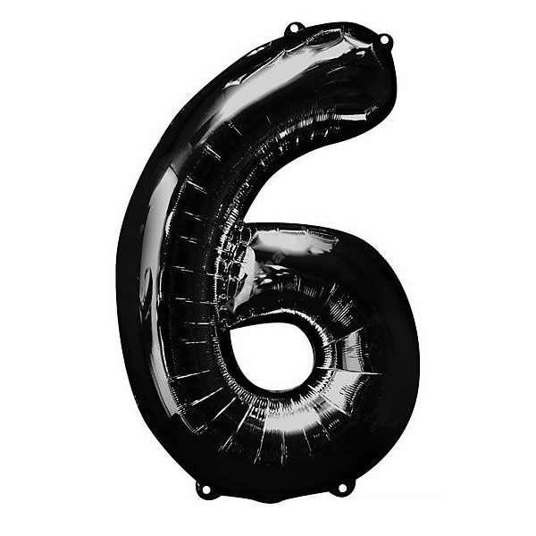 Фольгированная цифра черная «шесть»