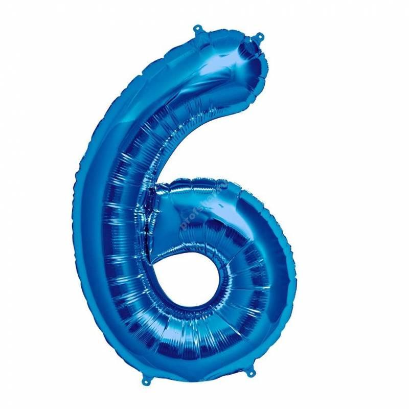 Фольгированная цифра голубая «шесть»