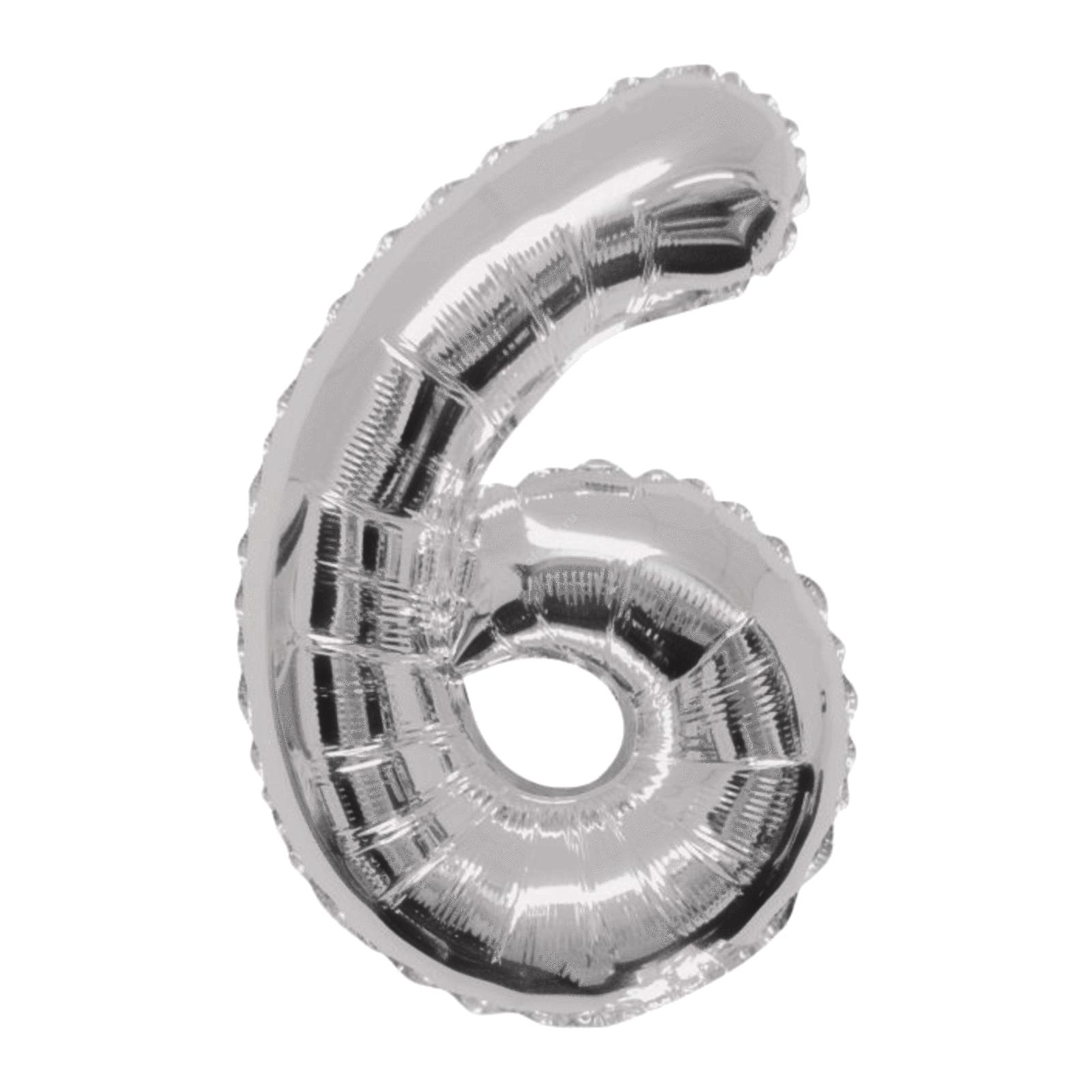 Фольгированная цифра серебро «шесть»