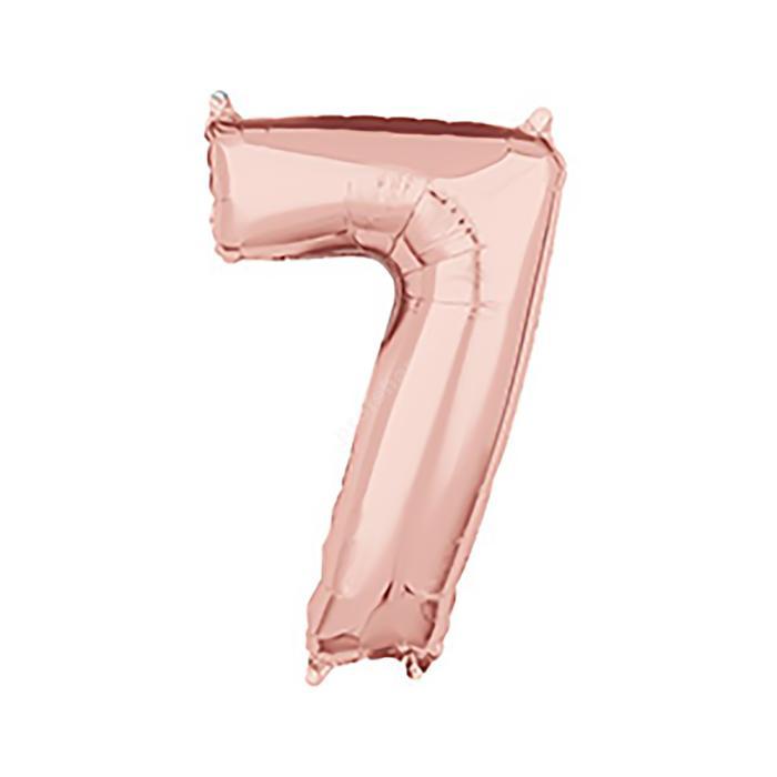 Фольгированная цифра розовое золото «семь»