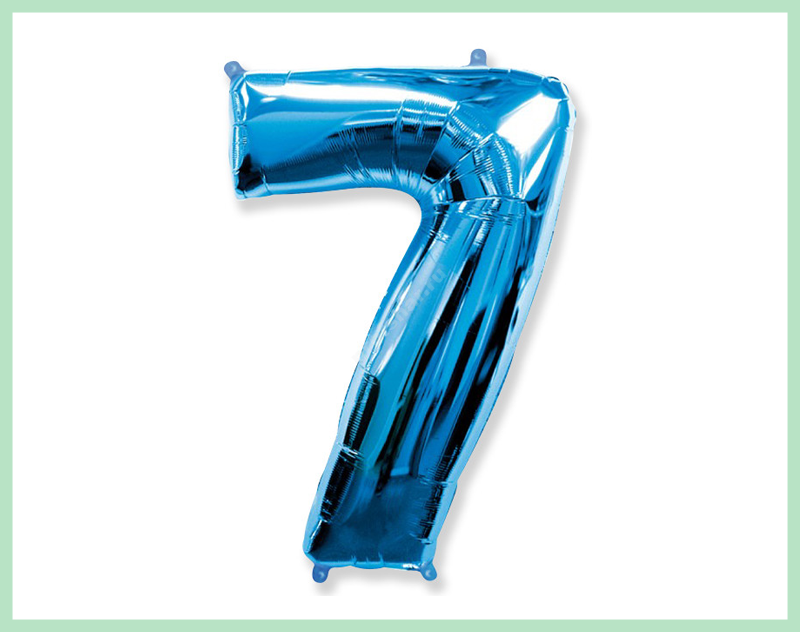 Фольгированная цифра голубая «семь»