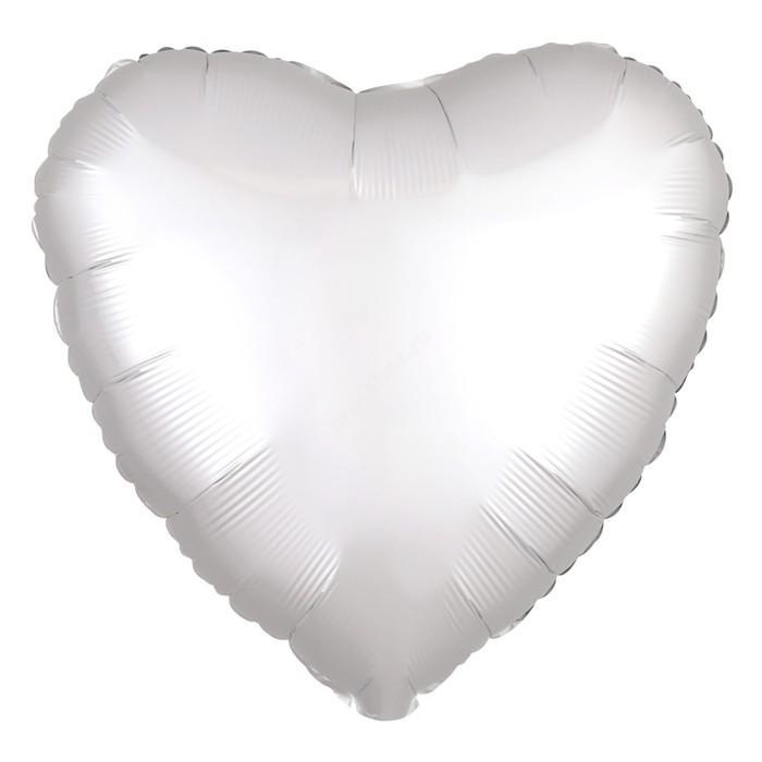 Шар фольгированный сердце цвет белый