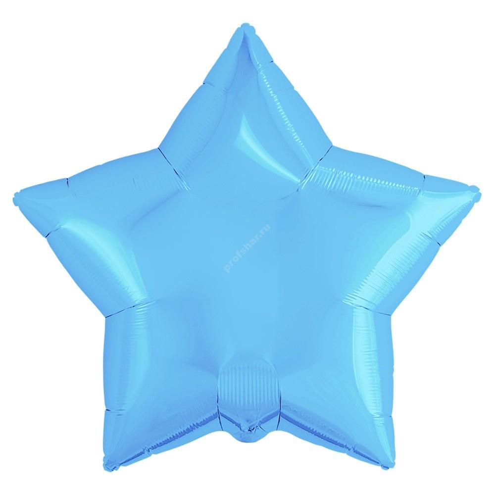 Шар фольгированный звезда цвет голубой