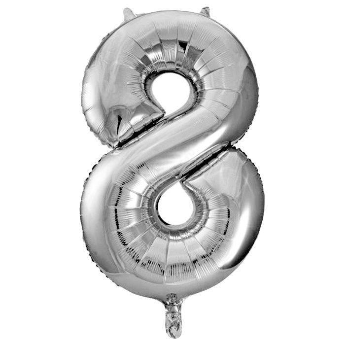 Фольгированная цифра серебро «восемь»