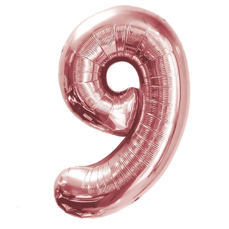 Фольгированная цифра розовое золото «девять»