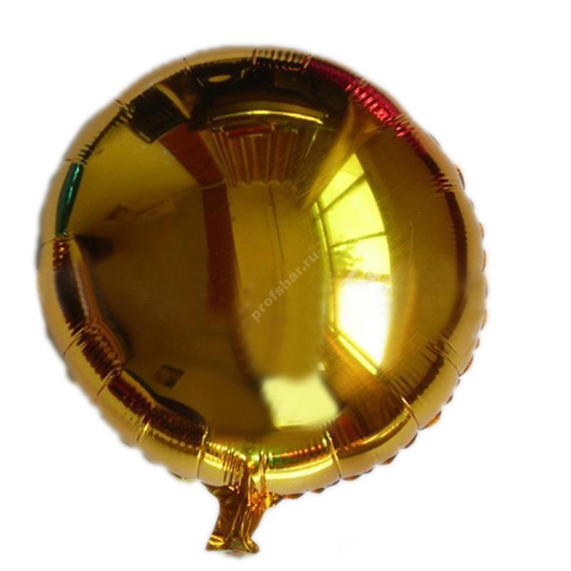 Фольгированный шар круглый золотой