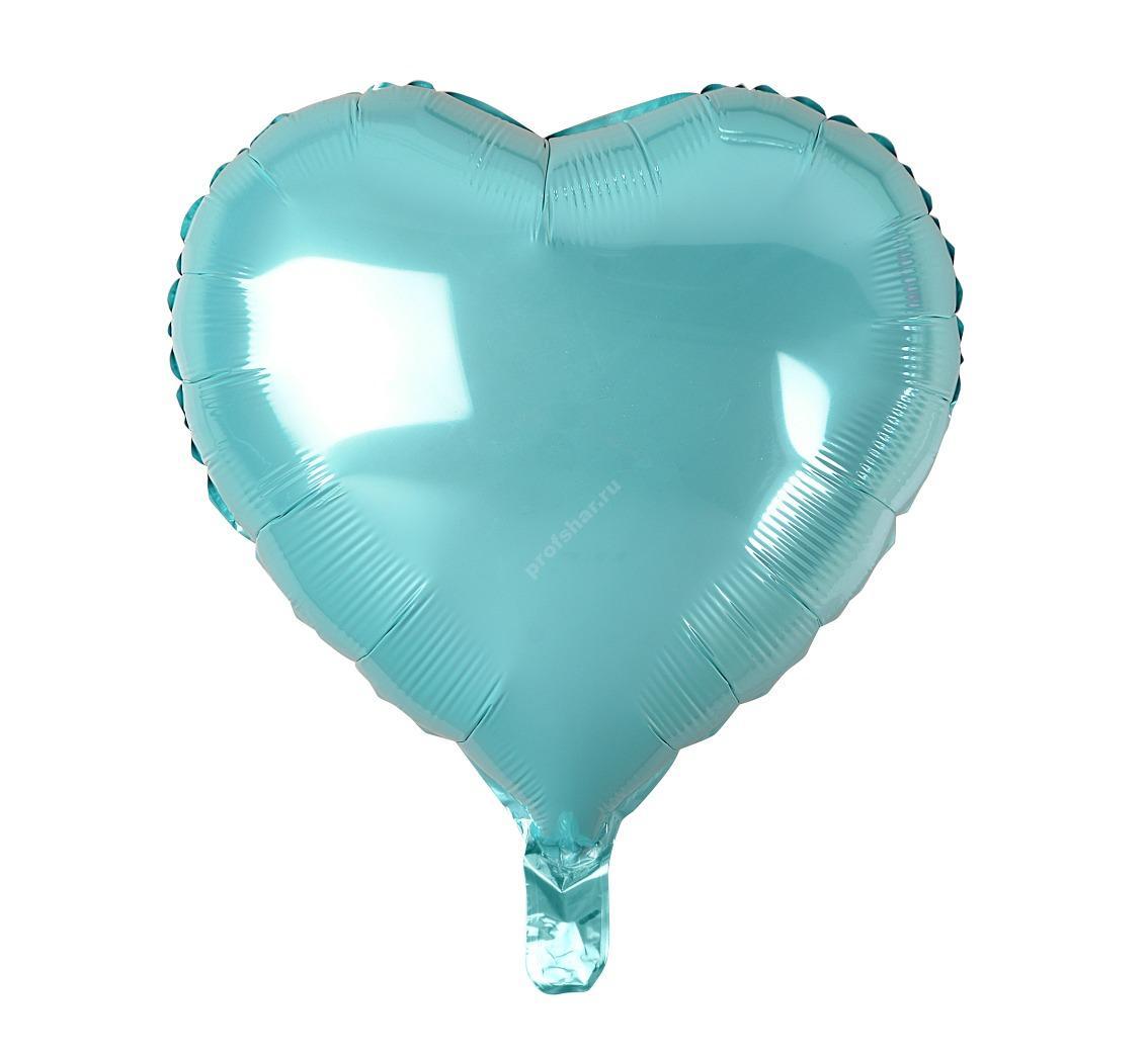 Шар фольгированный сердце цвет голубой