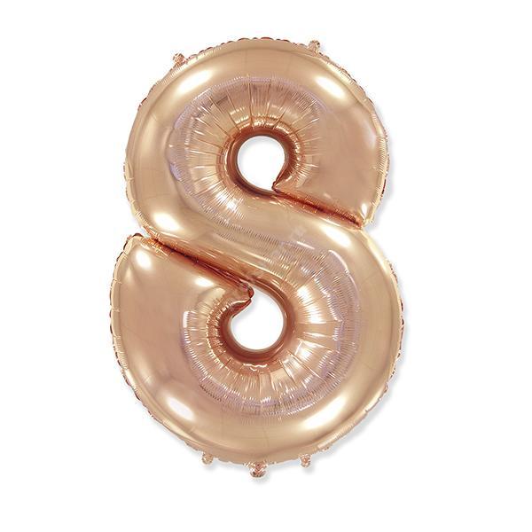 Фольгированная цифра розовое золото «восемь»