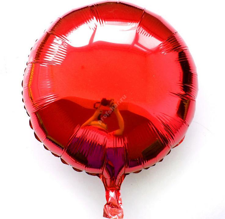 Фольгированный шар круглый красный