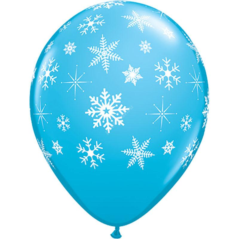 Шар с рисунком голубой «снежинка»