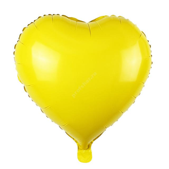 Шар фольгированный сердце цвет яркий желтый