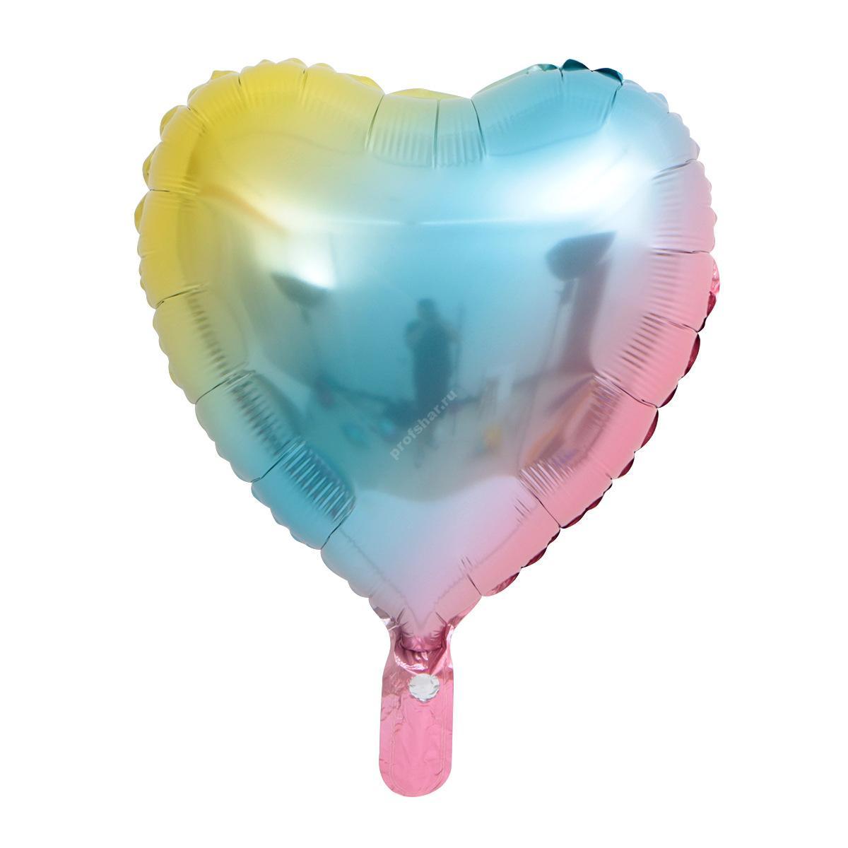 Шар фольгированный сердце «градиент»