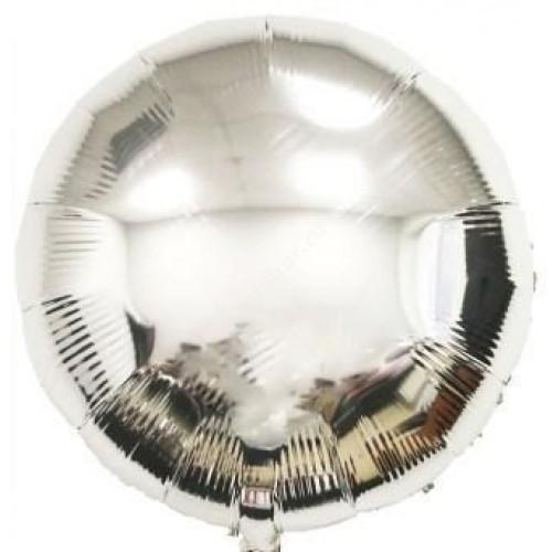 Фольгированный шар круглый серебро