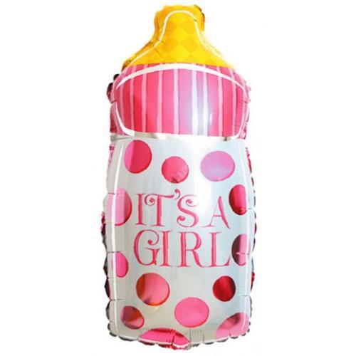 Фольгированный шар «бутылочка» розовая