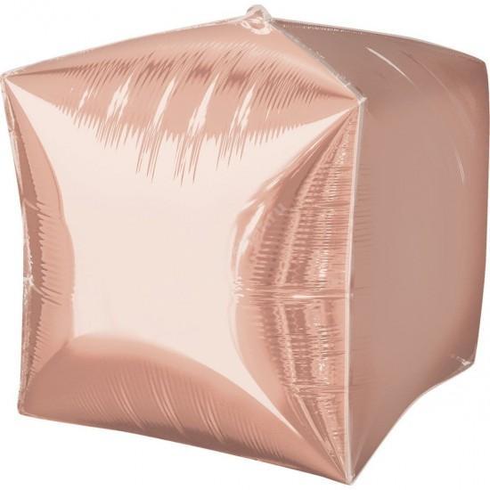 Фольгированный шар кубик розовое золото металлик