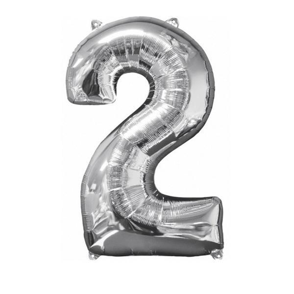 Фольгированная цифра серебро «два»