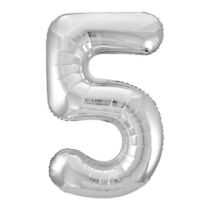 Фольгированная цифра серебро «пять»